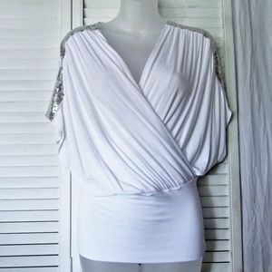Jolie sequin shoulders white stretch rayon top S